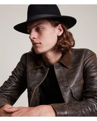 AllSaints Men's Bronson Fedora Hat - Black