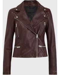 AllSaints Catch Leather Biker Jacket - Brown