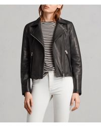 AllSaints Women's Leather Slim Fit Dalby Biker Jacket - Black