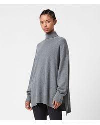AllSaints Gala Cashmere Blend Roll Neck Jumper - Grey