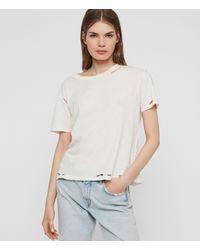 AllSaints Women's Cotton Regular Fit Dime T-shirt Pink Size: S - Multicolour