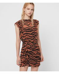 AllSaints Hali Zephyr Dress - Brown