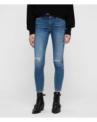 AllSaints Mast Destroys Skinny Ankle Jeans - Blue