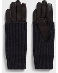 AllSaints Knit Cuff Leather Gloves - Black