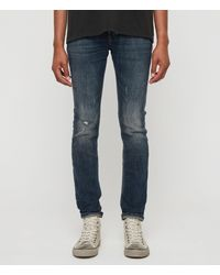 AllSaints - Cigarette Damaged Skinny Jeans, Indigo - Lyst