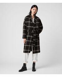 AllSaints Lara Check Coat - Black