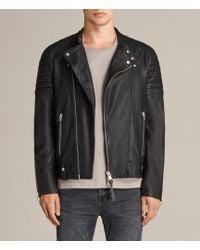 AllSaints Men's Leather Slim Fit Jasper Biker Jacket - Black
