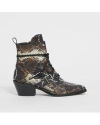 AllSaints Katy Snake Boot - Brown