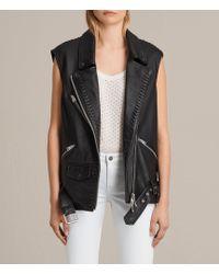 AllSaints Oversized Sleeveless Biker Jacket - Black