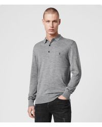AllSaints Men's Merino Wool Lightweight Mode Long Sleeve Polo Shirt, Grey, Size: S