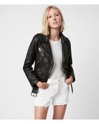 AllSaints Griffen Leather Biker Jacket - Black
