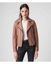 AllSaints Women's Lamb Leather Slim Fit Dalby Biker Jacket, Pink, Size: 12 - Multicolor