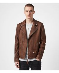 AllSaints Milo Leather Biker Jacket - Brown