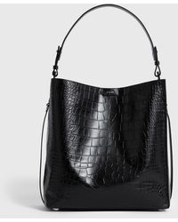 AllSaints Polly North South Leather Tote Bag - Black