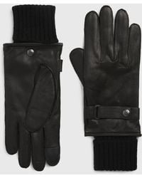 AllSaints Yield Leather Gloves - Black