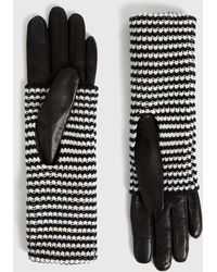 AllSaints Women's Leather Stripe Goat Cuff Gloves - Black