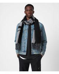 AllSaints Alon Reversible Wool Scarf - Black