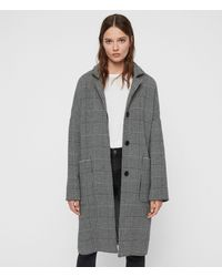 AllSaints Teya Check Coat - Black