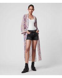 AllSaints Women's Snake Print Regular Fit Carine Masala Kimono Pink Size: S