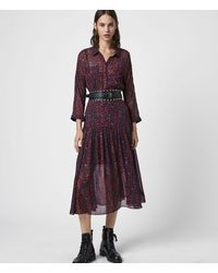AllSaints Eley Plume Dress - Pink