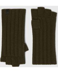 AllSaints Ribbed Cut Off Finger Wool Blend Gloves - Green