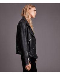 AllSaints Luna Leather Biker Jacket - Black