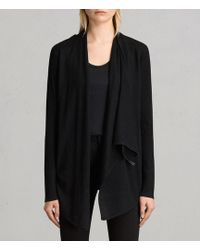 AllSaints - Drina Ribbed Merino Wool Cardigan - Lyst