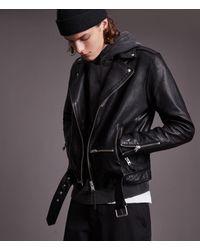 AllSaints Wick Leather Biker Jacket Mens - Black