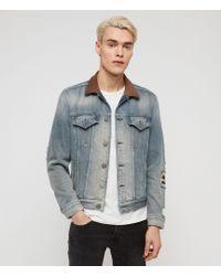 AllSaints Iren Distressed Denim Jacket - Blue