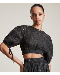 AllSaints Women's Asta Heligan Linen Blend Top - Black