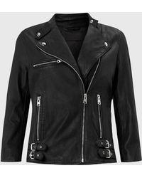 AllSaints Turne Leather Biker Jacket - Black
