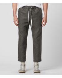 AllSaints Luckett Linen Blend Cropped Slim Trousers - Green