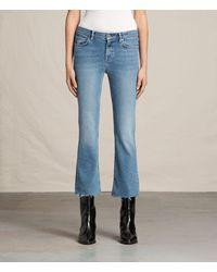 AllSaints Zoe Cropped Bootcut Jeans - Blue