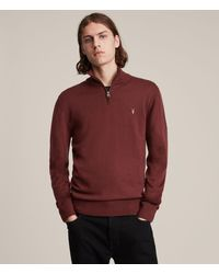 AllSaints Men's Mode Merino Zip Funnel Neck Jumper - Red