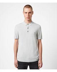 AllSaints Men's Merino Wool Slim Fit Mode Short Sleeve Polo Shirt - Gray