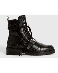 AllSaints Donita Leather Crocodile Boots - Black