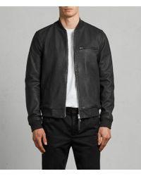 AllSaints - Ellison Leather Bomber Jacket - Lyst