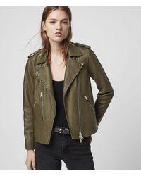 AllSaints Elva Leather Biker Jacket - Green
