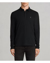 AllSaints | Brace Long Sleeved Polo Shirt | Lyst