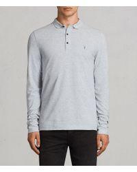 AllSaints - Reform Long Sleeve Polo Shirt - Lyst