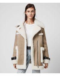 AllSaints Women's Sheepskin Bronx Shearling Coat - Brown