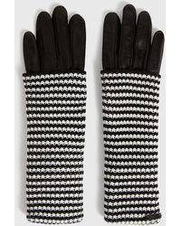 AllSaints Women's Leather Stripe Goat Cuff Gloves - Black