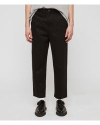 AllSaints Men's Cotton Contemporary Muro Loose Fit Cropped Tapered Chinos - Black