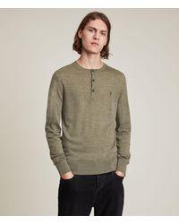 AllSaints - Men's Mode Merino Long Sleeve Henley Nettle Green Marl Size: Xs - Lyst