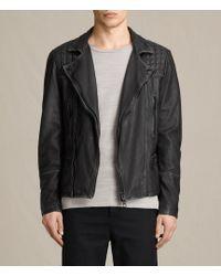 AllSaints - Cargo Leather Biker Jacket - Lyst