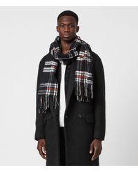 AllSaints Cheyne Plaid Wool Scarf - Black