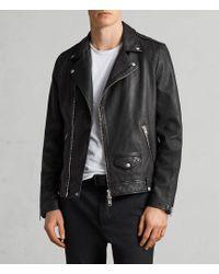 AllSaints - Renzo Slim Fit Leather Biker Jacket - Lyst