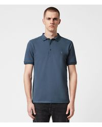 AllSaints Reform Short Sleeve Polo Shirt - Blue
