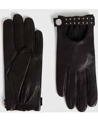 AllSaints Stud Driver Leather Gloves - Black
