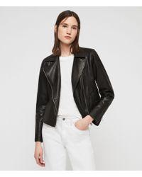 AllSaints Vela Leather Biker Jacket - Black